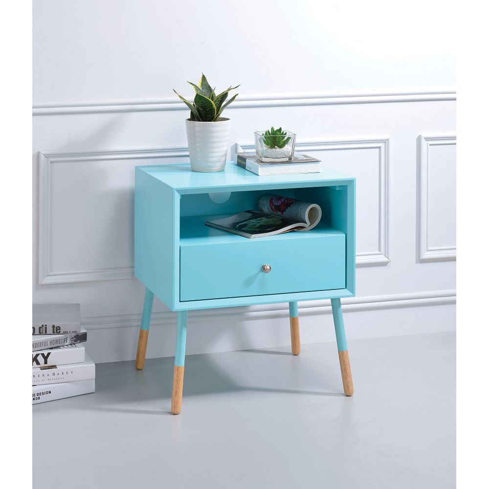 Sky Blue Sonria II End Table With 1 Drw & Open Storage in Light Blue & Natural BH84452