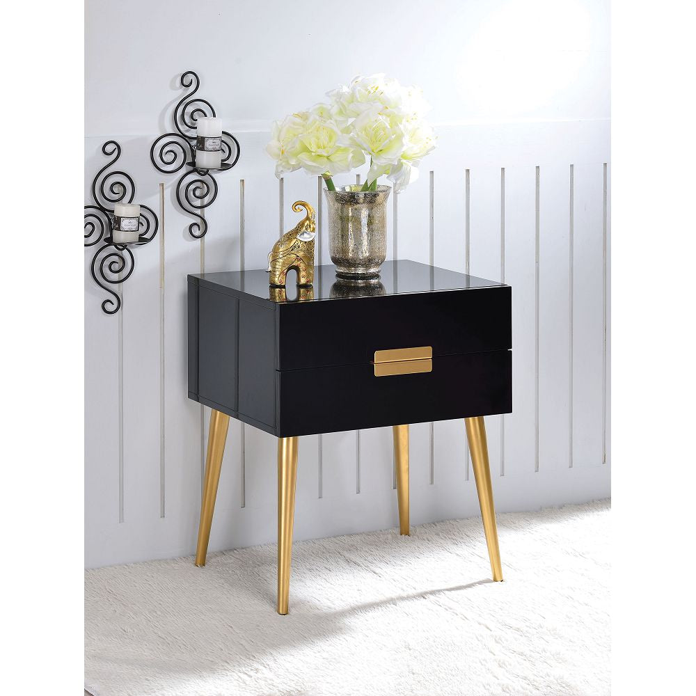 Black Rectangular Night Table With 2 Drawers in Black & Gold BH84495