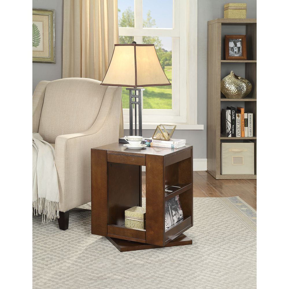 Dark Olive Green Pisanio End Table With Swivel Base in Espresso BH84522