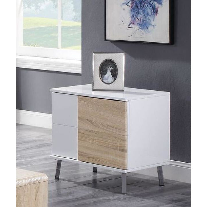 Rosy Brown Verux End Table With 2 Drawers White High Gloss BH84932