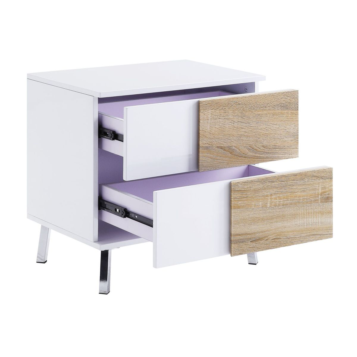 Lavender Verux End Table With 2 Drawers White High Gloss BH84932