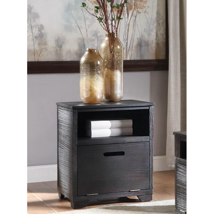 Dark Gray Kamilia End Table With Shelves Antique Black BH85967