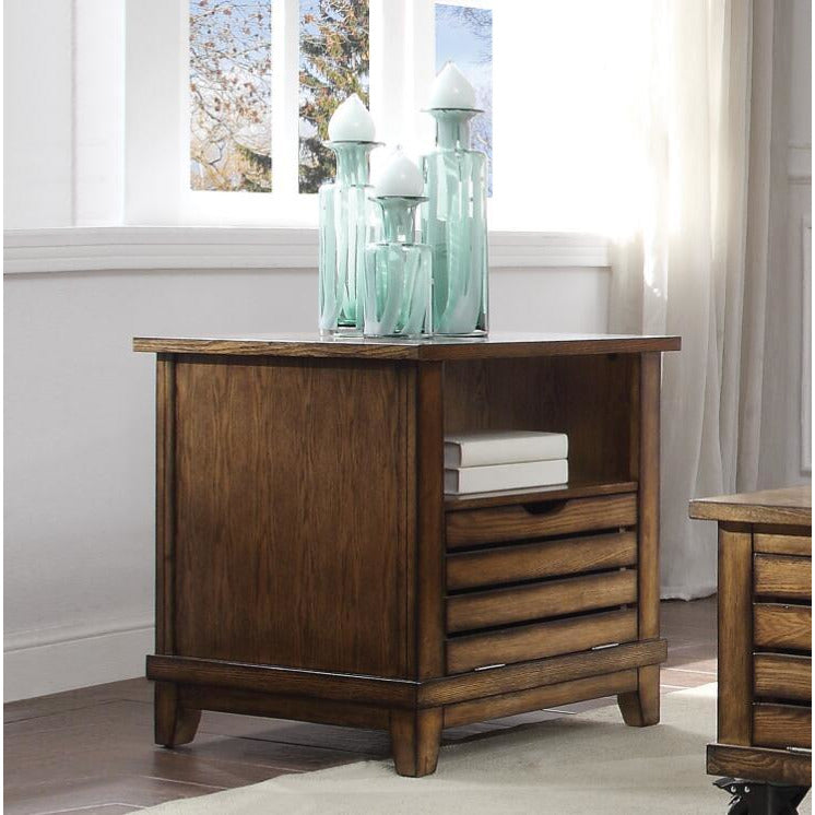Dark Olive Green Gabriella End Table With Open Shelf Oak BH86937