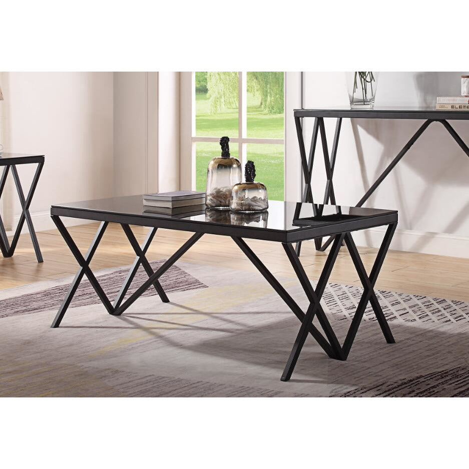 "Tan Magenta Coffee Table With Metal ""X"" Shape Base Black & Glass BH87155"