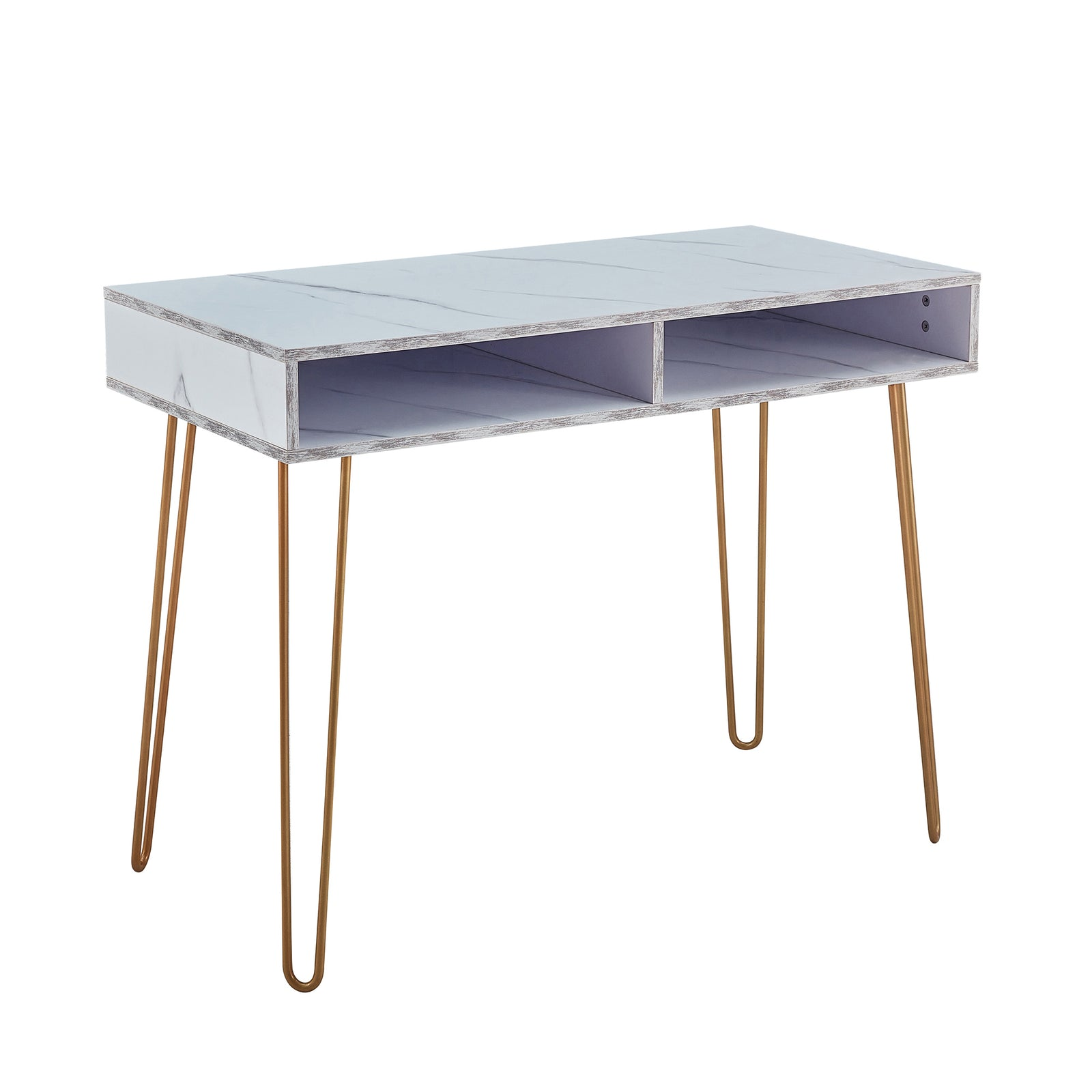 Beauty Table Side End Table Modern Marble MDF Top With Sturdy Gold Metal Legs White