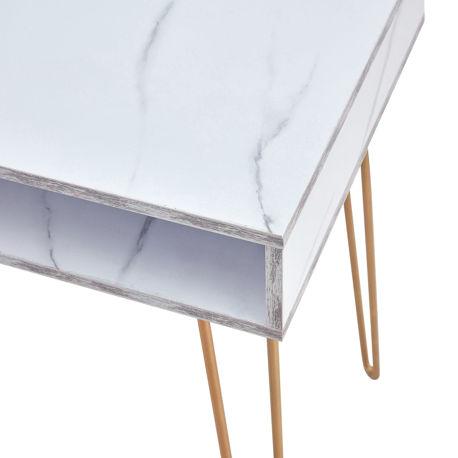 Beauty Table Side End Table Modern Marble MDF Top With Sturdy Gold Metal Legs White - Table Top