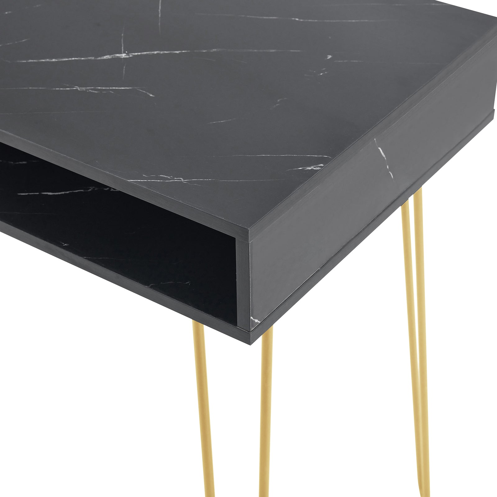 Beauty Table Side End Table Modern Marble MDF Top With Sturdy Gold Metal Legs Black - Top