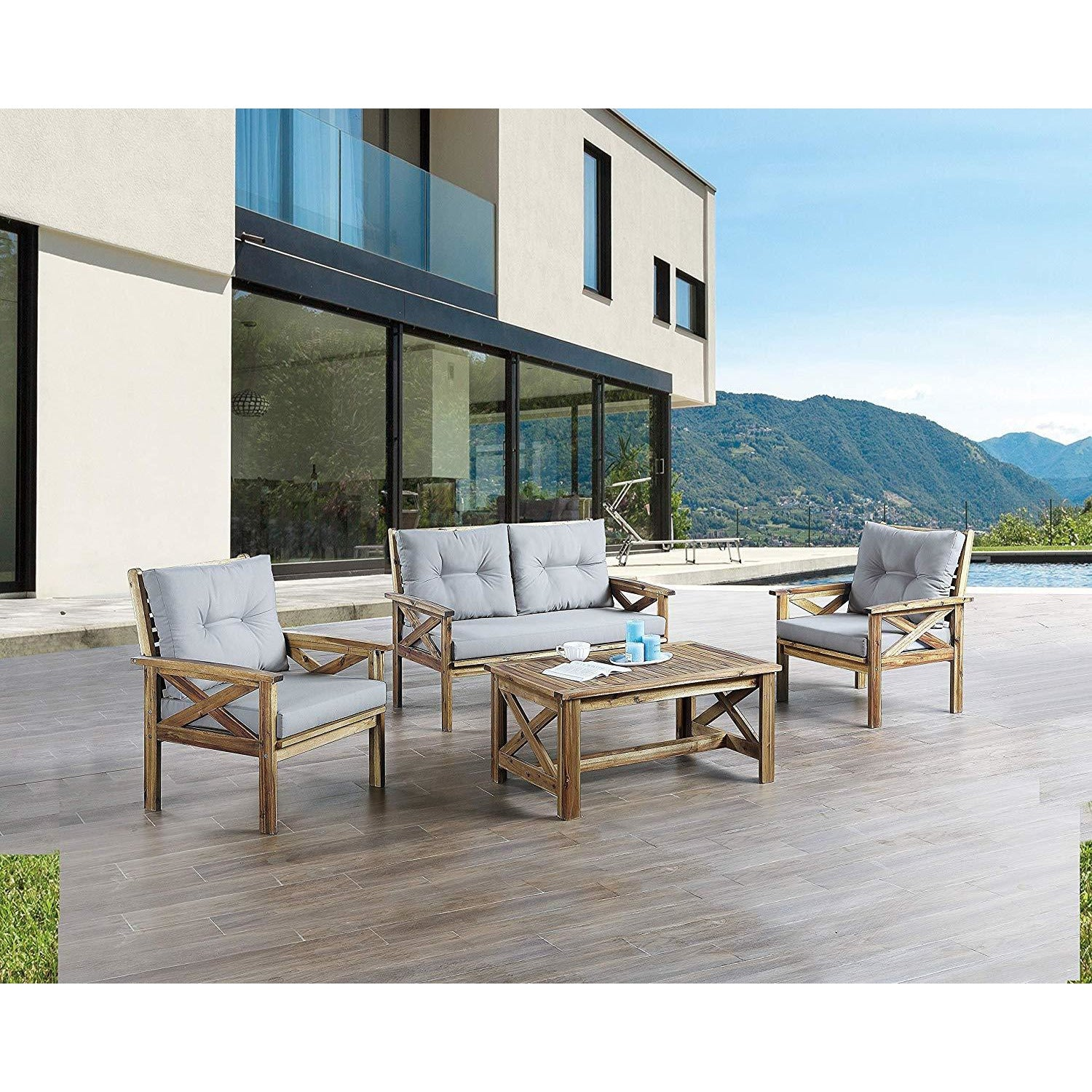 Dim Gray Acacia Wood 3 Pieces Outdoor Patio Conversation Set Bistro Chairs with Table