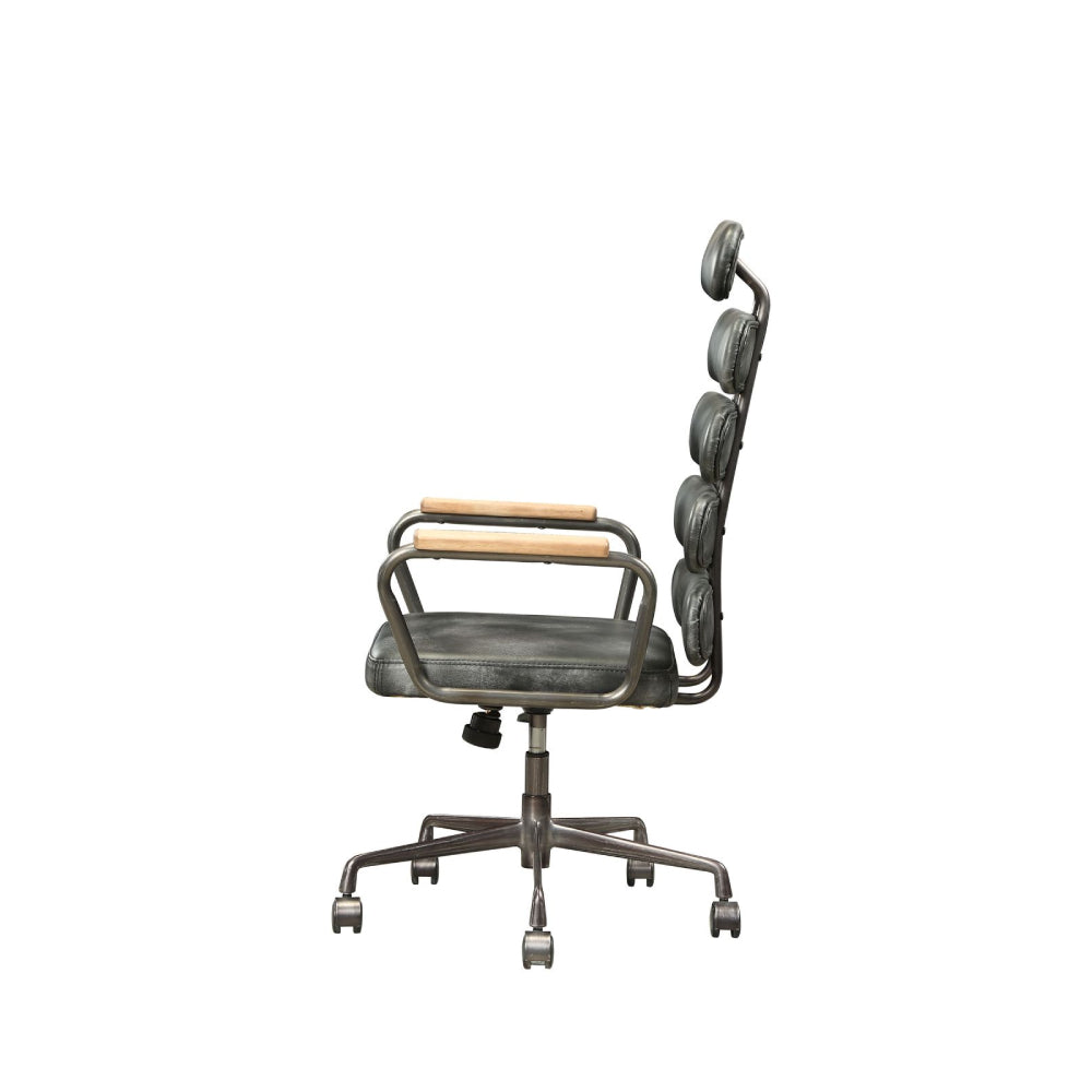 Executive Arm Office Chair High Back With Horizontal Panels in Vintage Black Top Grain Leather