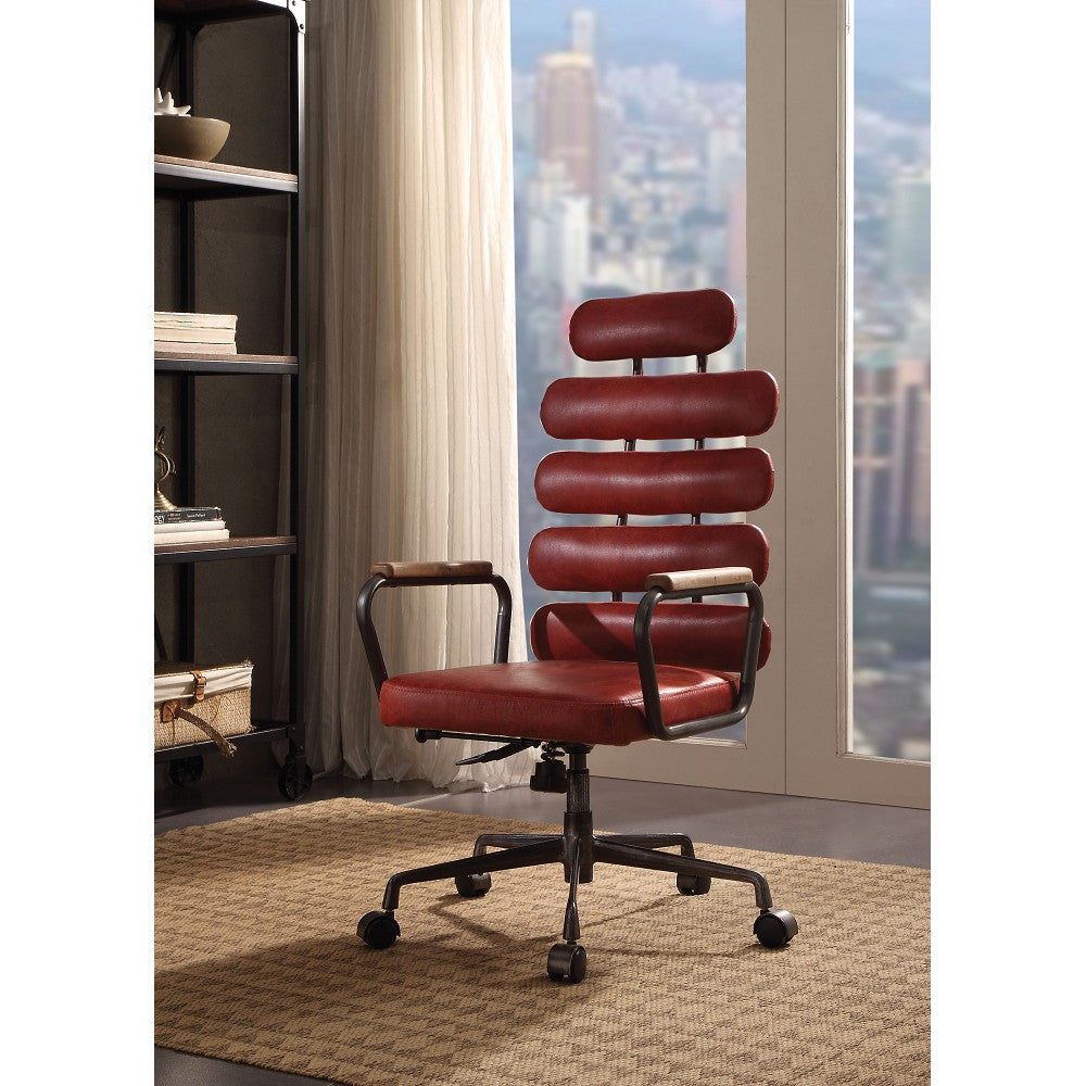 Executive Arm Office Chair High Back With Horizontal Panels in Vintage Red Top Grain Leather