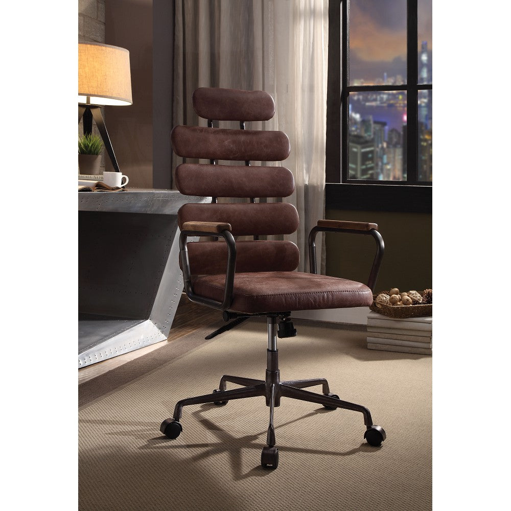 Executive Arm Office Chair High Back With Horizontal Panels in Vintage Whiskey Top Grain Leather
