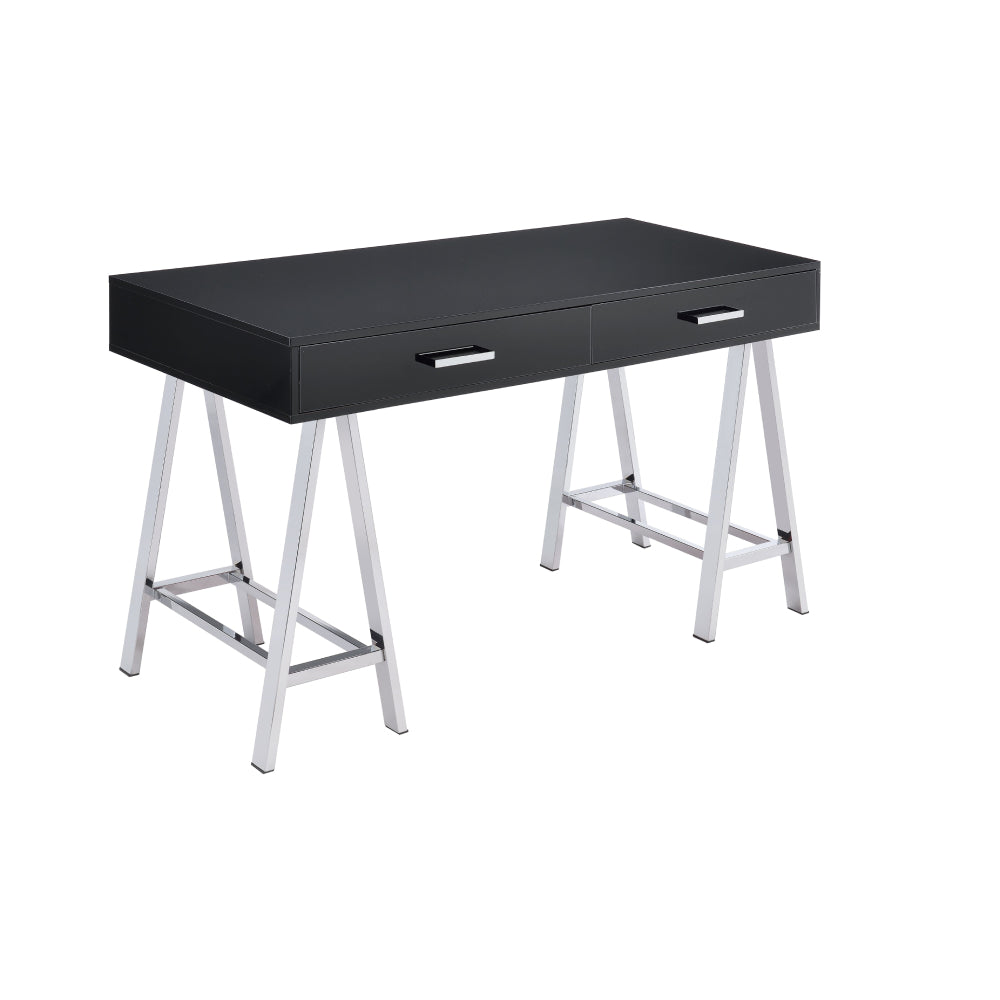 Rectangular Writing Desk w/Metal Sawhorse Base Black High Gloss & Chrome