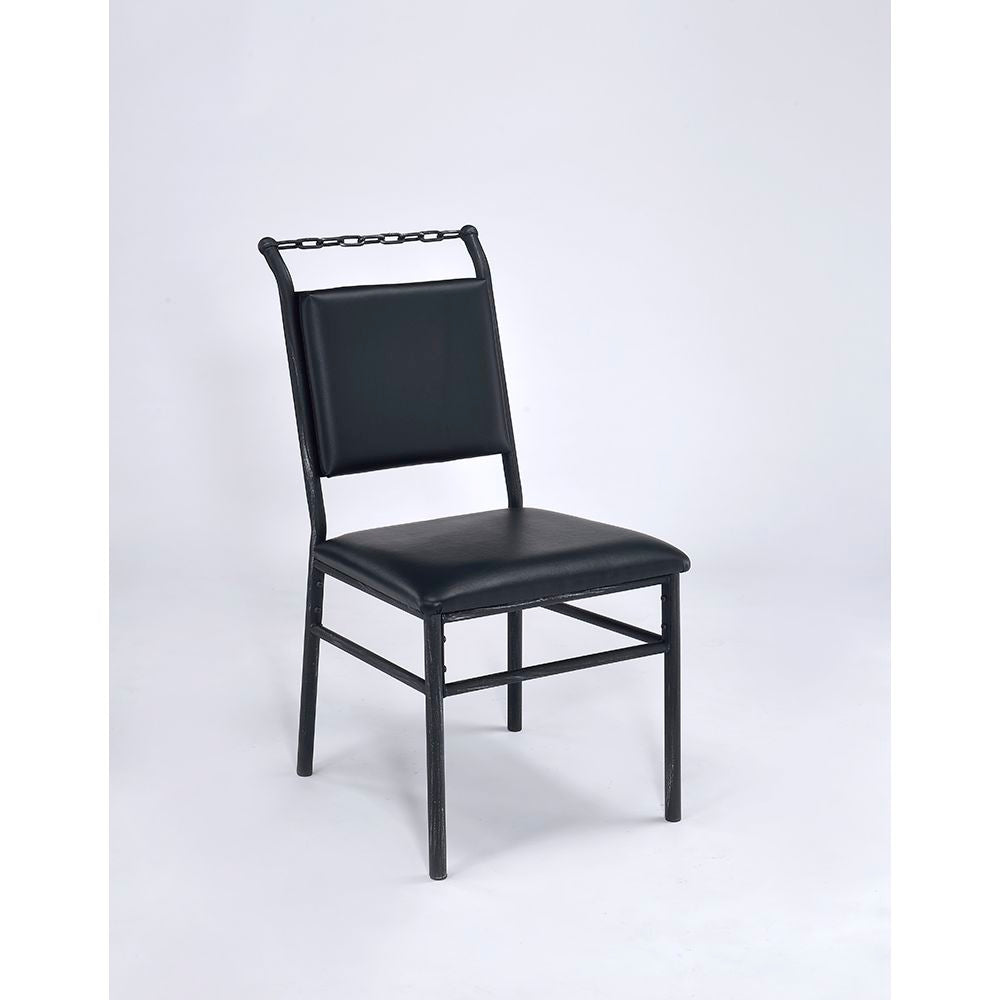Dark Slate Gray Jodie Armless Chair With Padded Seat in Black PU & Antique Black BH92249