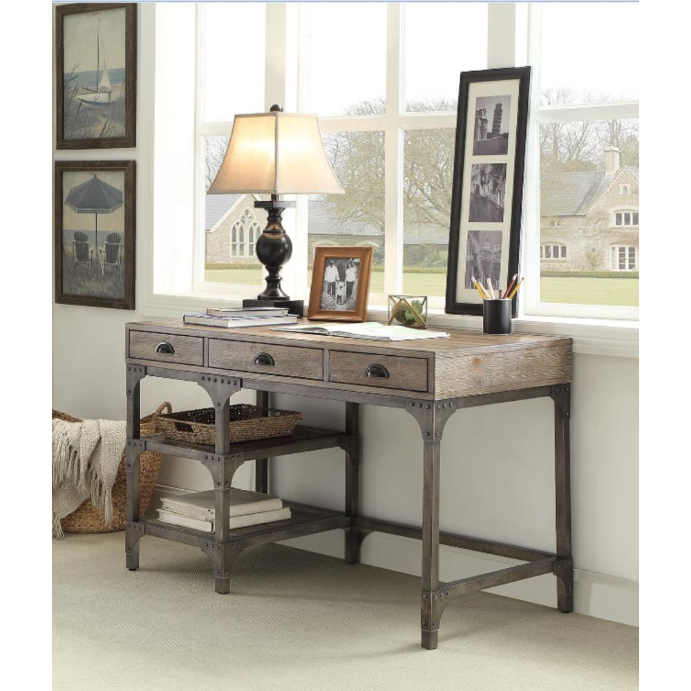 Rectangular Writing Desk With 3 Drawers & 2 Shelves in Weathered Oak & Antique Silver