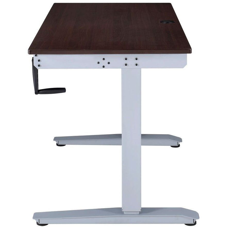 "Adjustable Height Desk w/""T"" Metal Base in Espresso"