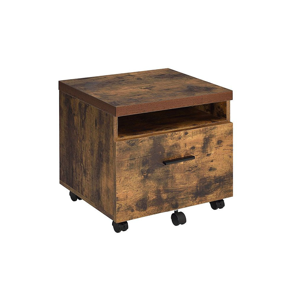 Wooden File Cabinet With Casters in Weathered Oak & Black