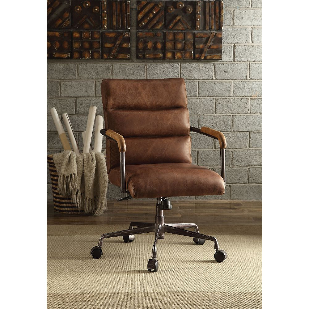 Modern Executive Office Chair Swivel Computer Gaming Chair w/Armrest Top Grain Leather