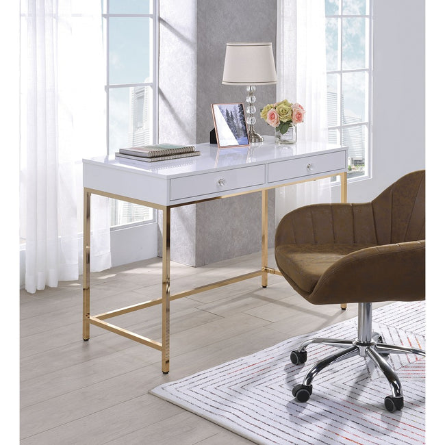 Ottey Rectangular Writing Desk in White High Gloss & Gold BH92540