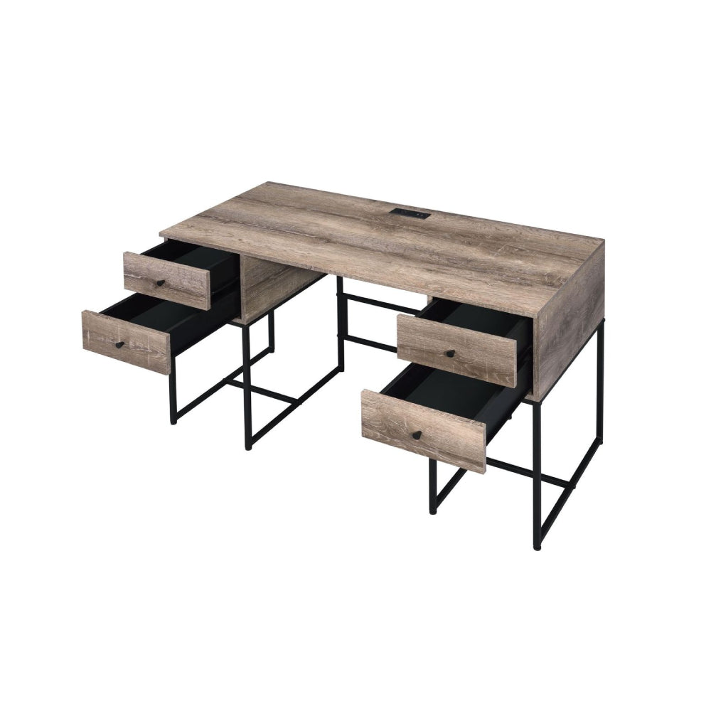 4-Drawer Writing Desk With Metal Base Rustic Oak & Black BH92640