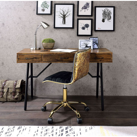 2 Drawers End Table With Metal Sloped Legs in Walnut & Black BH80622