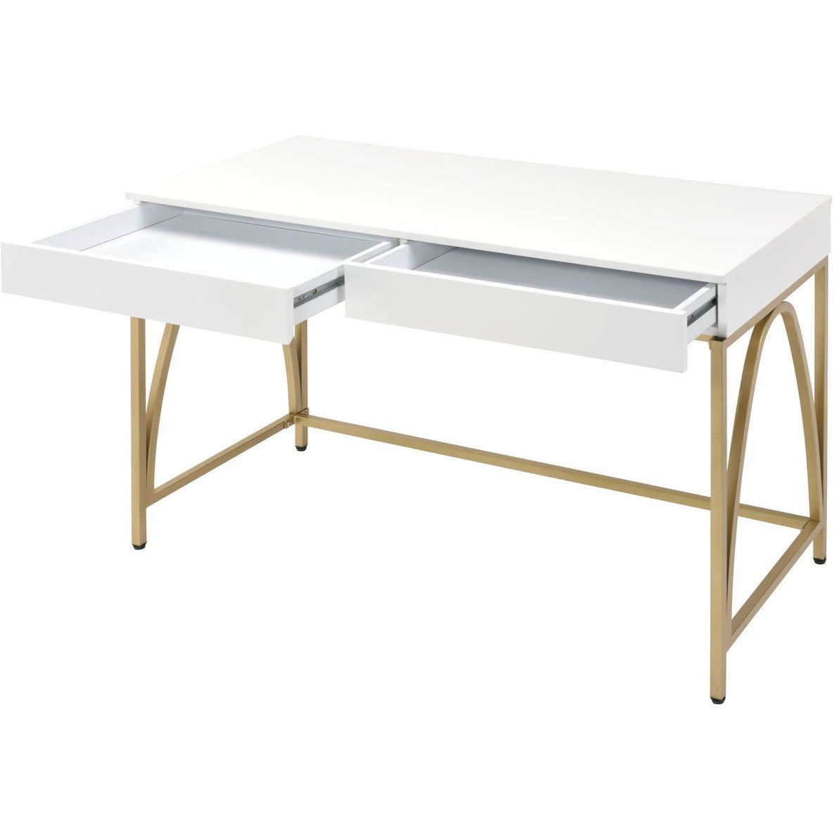 Beige Writing Desk w/2 Drawers White High Gloss & Gold BH92660
