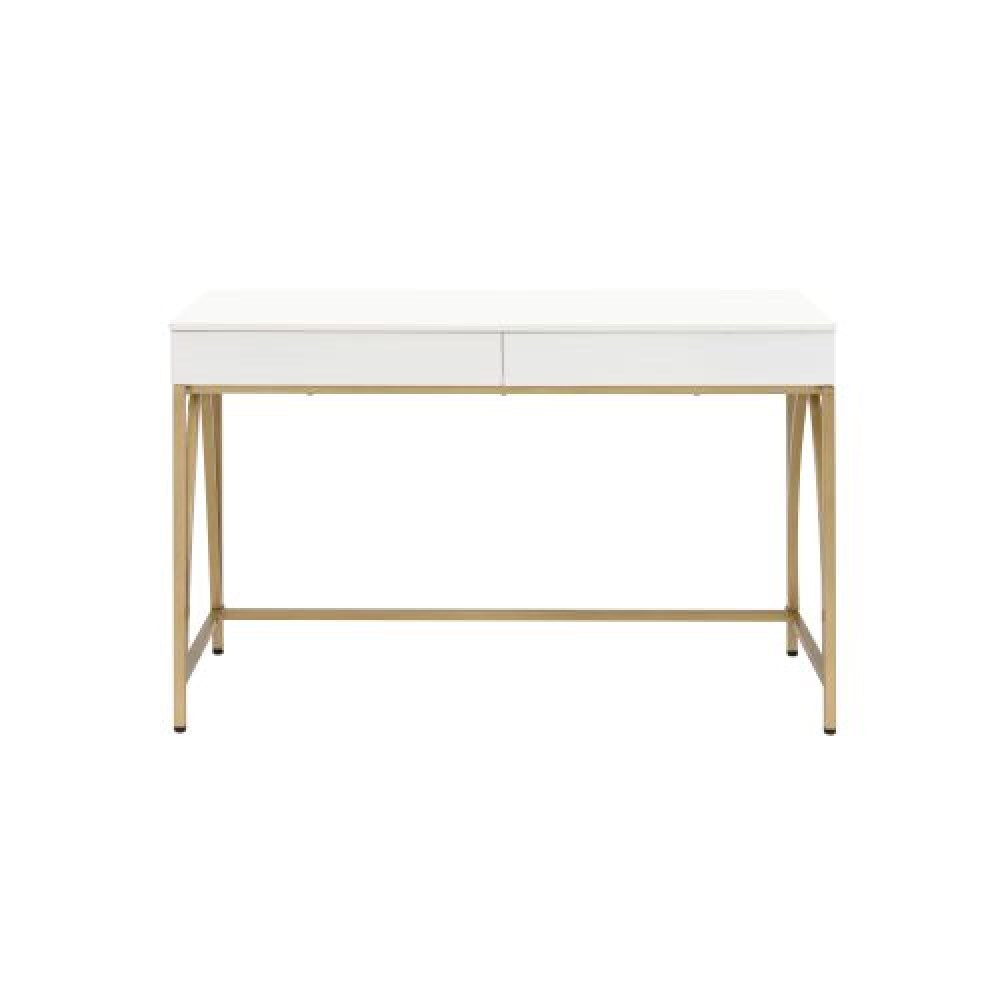 Writing Desk w/2 Drawers White High Gloss & Gold
