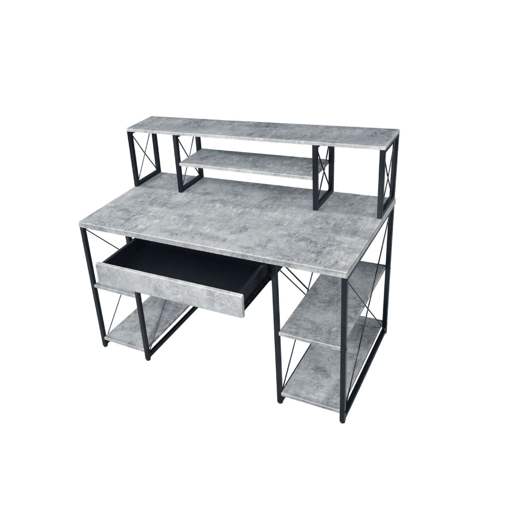 Music Recording Studio Desk With 8 Open Compartment Faux Concrete & Black BH92875