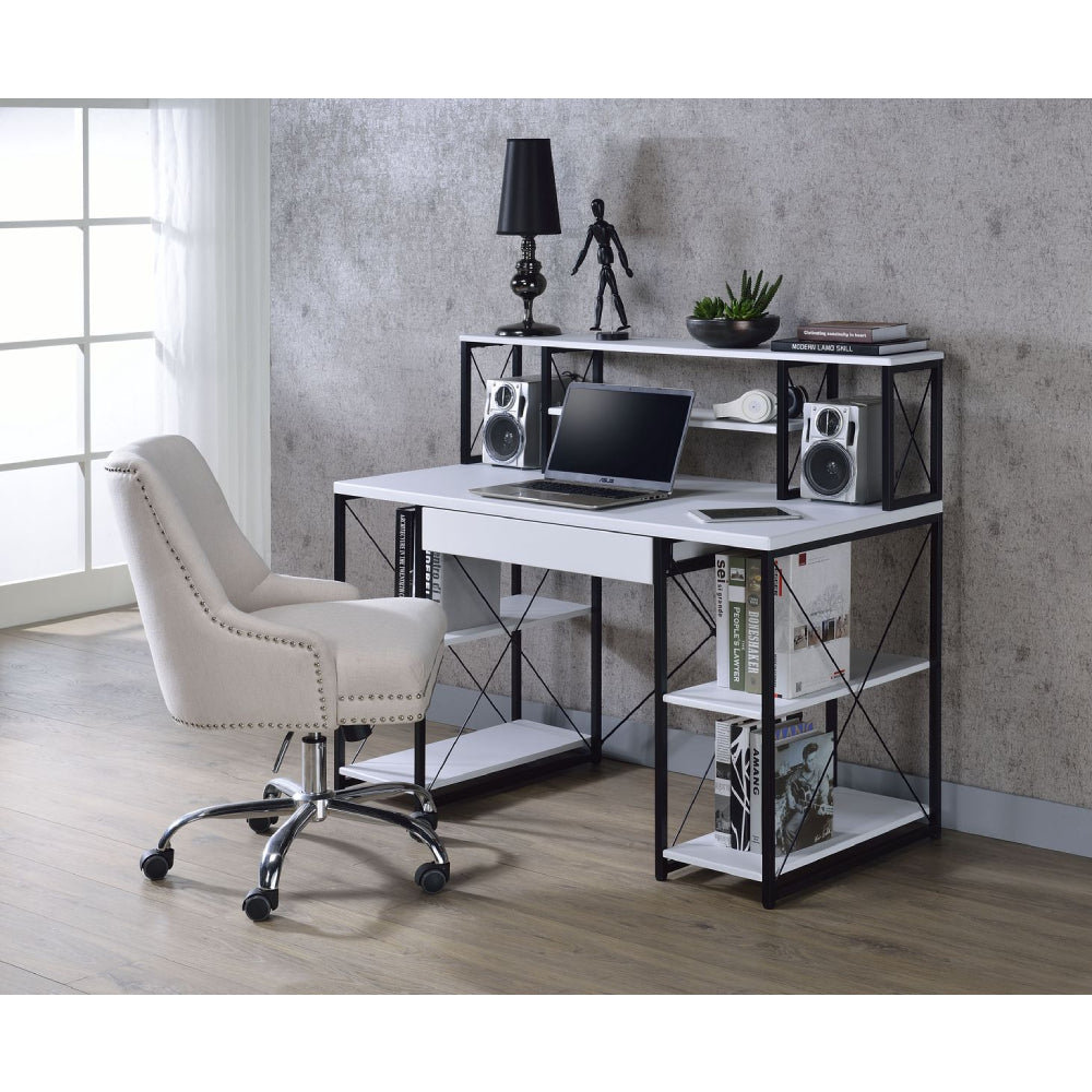 Wooden Top Writting Desk w/1 Drawer & 8 Open Compartments White