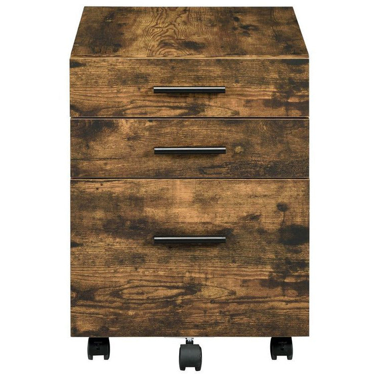 Rectangular Wooden File Cabinet w/3 Drawers + Rolling Caster Leg Weathered Oak