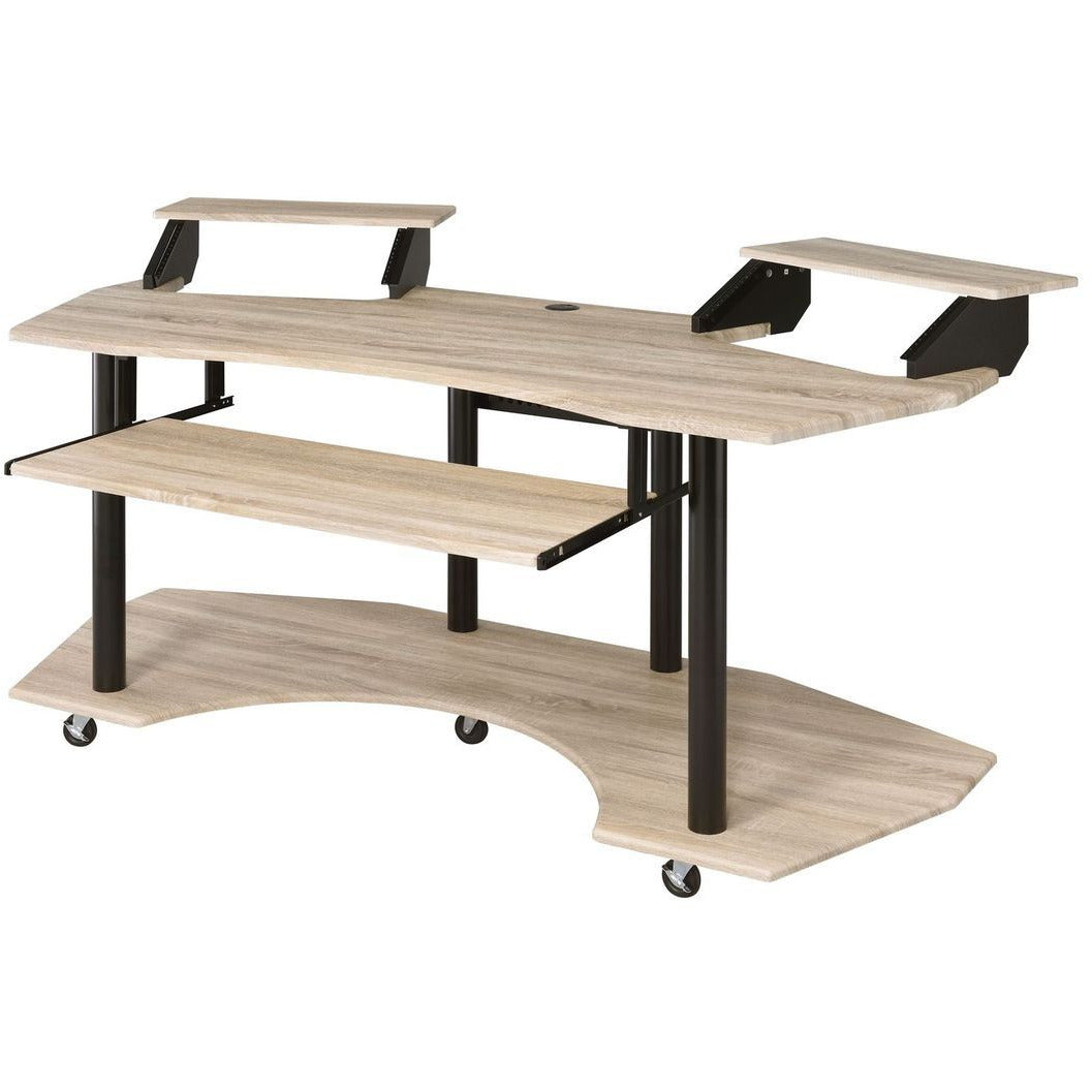 Computer Desk w/Keyboard Tray + 2 Stands + Casters Natural Oak