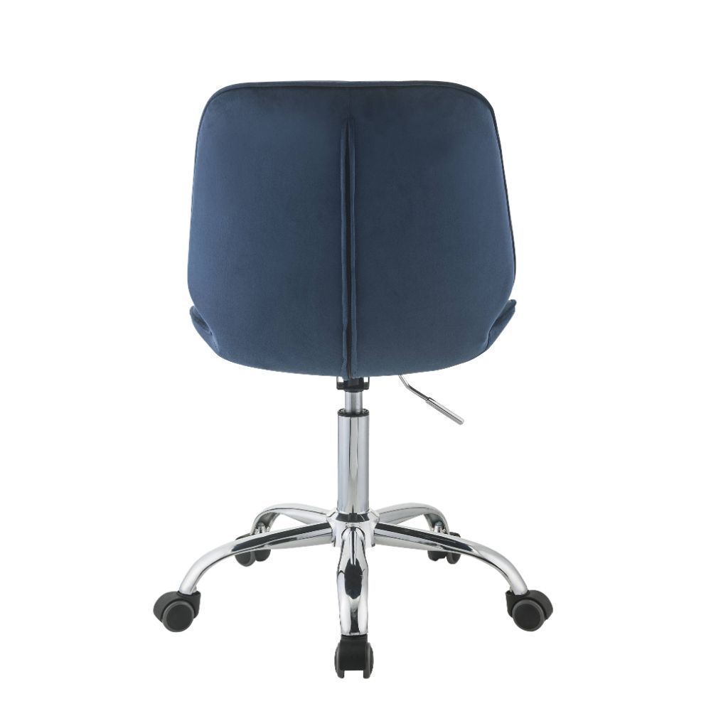 Armless Office Chair With Padded Seat & Back Twilight Blue Velvet and Chrome BH92932
