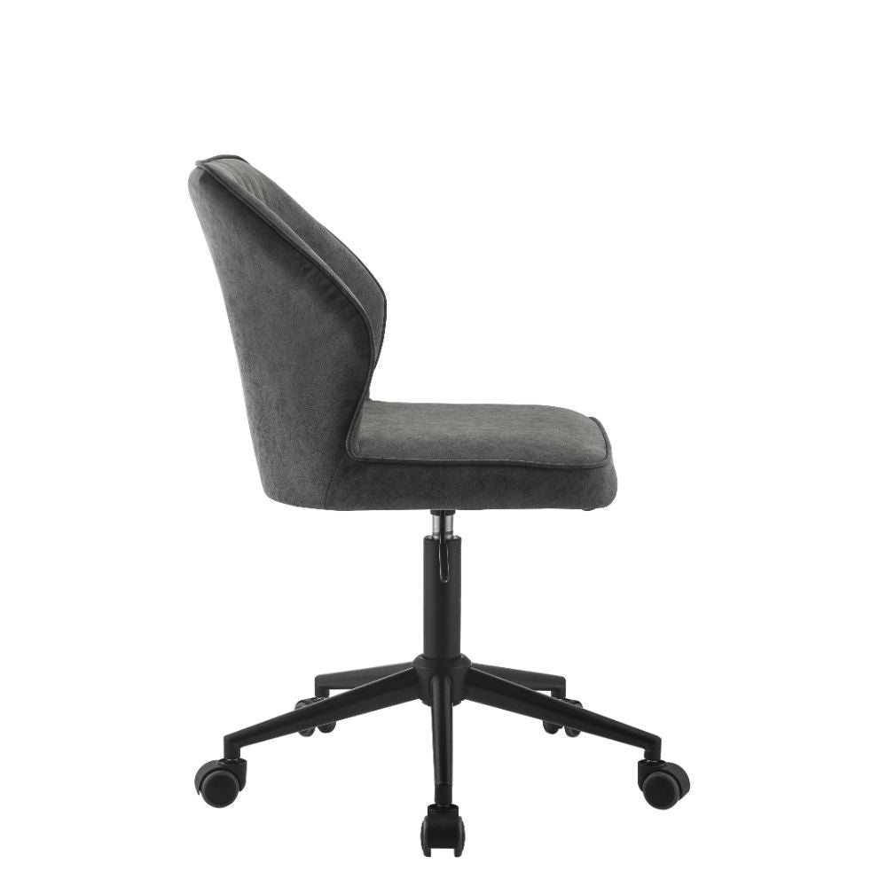 Pakuna Armless Office Chair Vintage Gray PU and Black BH92942