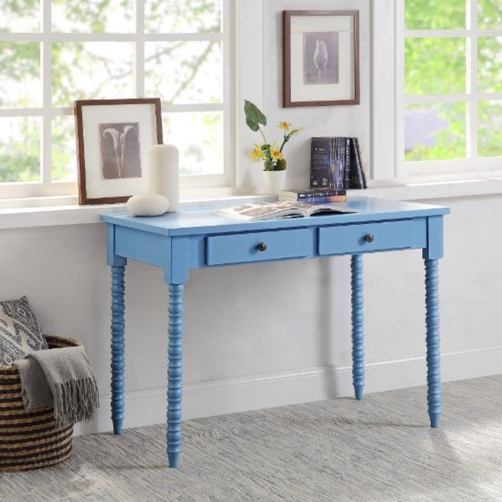 Rectangular Wooden Writing Desk With 2 Storage Drawers Blue