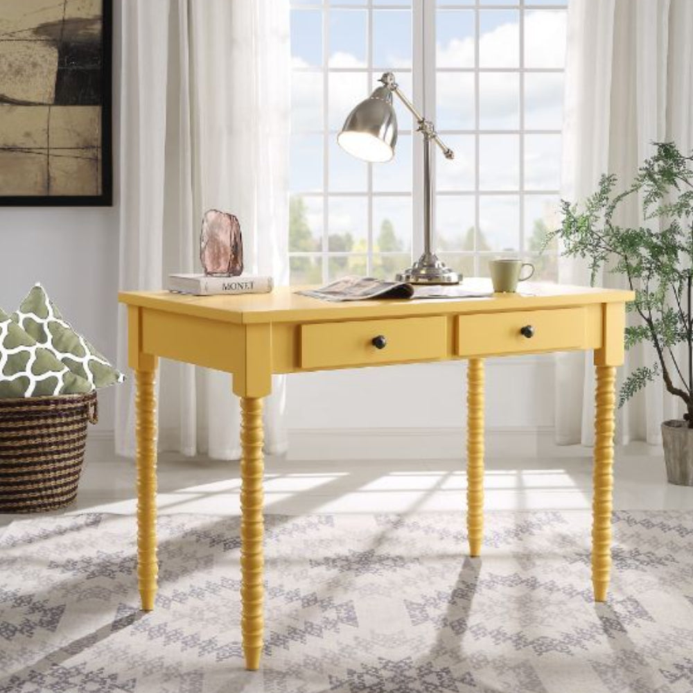 Rectangular Wooden Writing Desk With 2 Storage Drawers Yellow