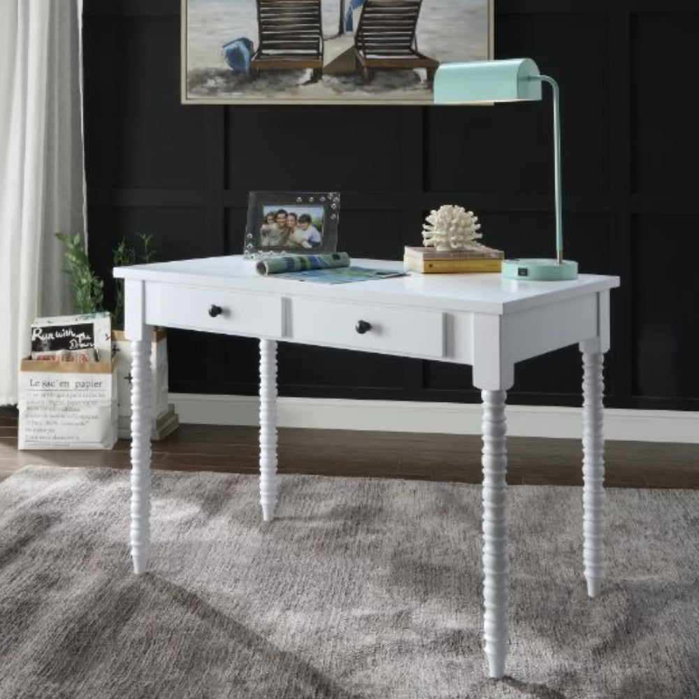 Rectangular Wooden Writing Desk With 2 Storage Drawers White