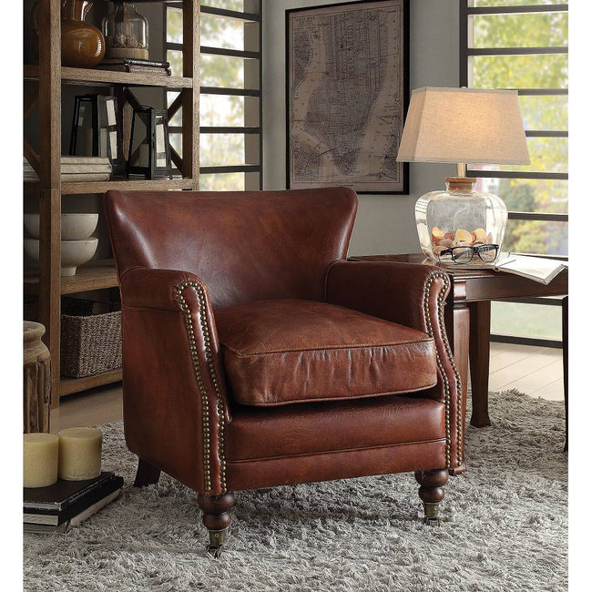 Accent Chair Club Chair Rolled Armrest w/Front Nail-head Trim in Vintage Dark Brown Top Grain Leather