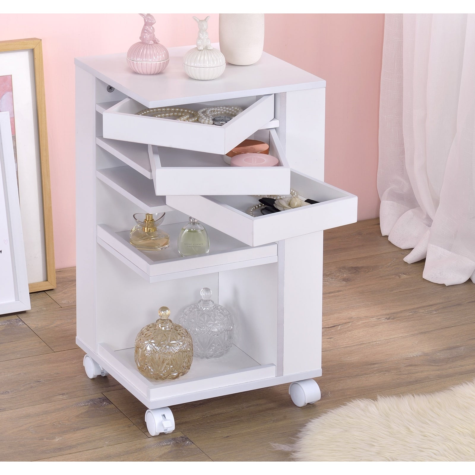 Gray Nariah Storage Cart With Casters Wheels BH97218 BH97217