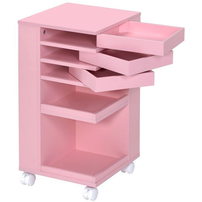 Light Pink Nariah Storage Cart With Casters Wheels BH97218 BH97217