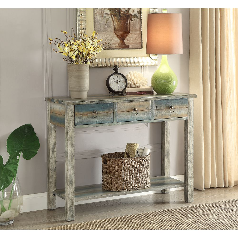 Dim Gray Rectangular Console Table With Drawers & Shelf in Antique White & Teal BH97257
