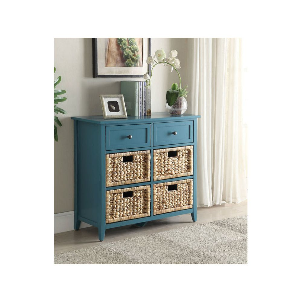 Slate Gray Wooden Console Table With 6 Drawers in Teal BH97418
