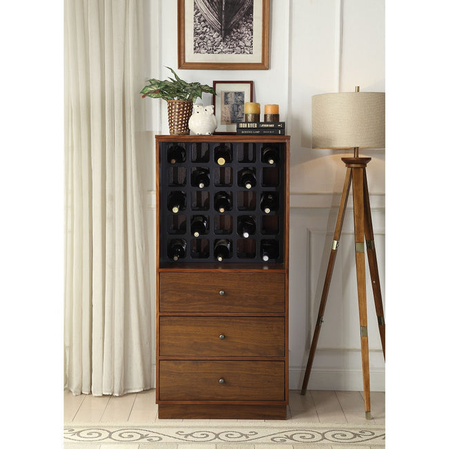 Saddle Brown Wooden Case Wine Cabinet Bottle Rack Up-to 25 Bottles w/3 Drawers BH97542 BH97544