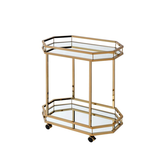Dark Khaki Lacole Metal Serving Cart Champagne & Mirror BH98197
