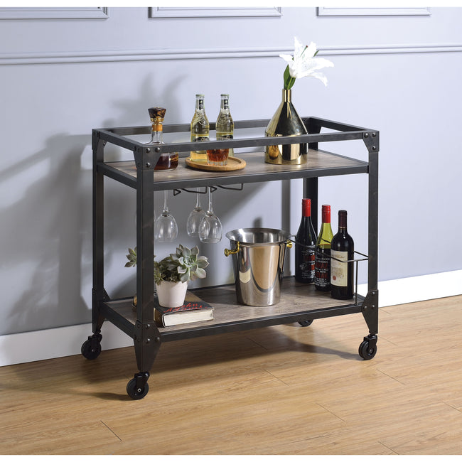 Dark Slate Gray Jorgensen Serving Cart, Rustic Oak & Charcoal BH98355