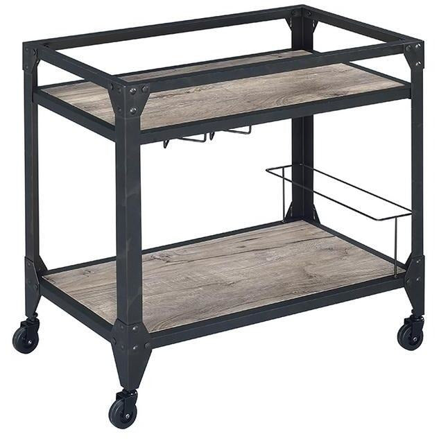 Jorgensen Serving Cart, Rustic Oak & Charcoal BH98355