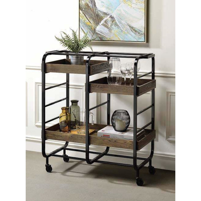 Dark Olive Green Vorrik Serving Cart With 3 Wooden Adjustable Trays BH98410 BH98412