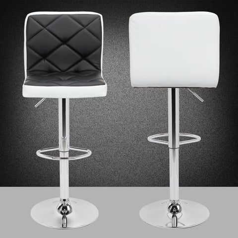 Faux Leather Bar Stools Adjustable 360 Degree Swivel Backrest Footrest Barstool Set of 4