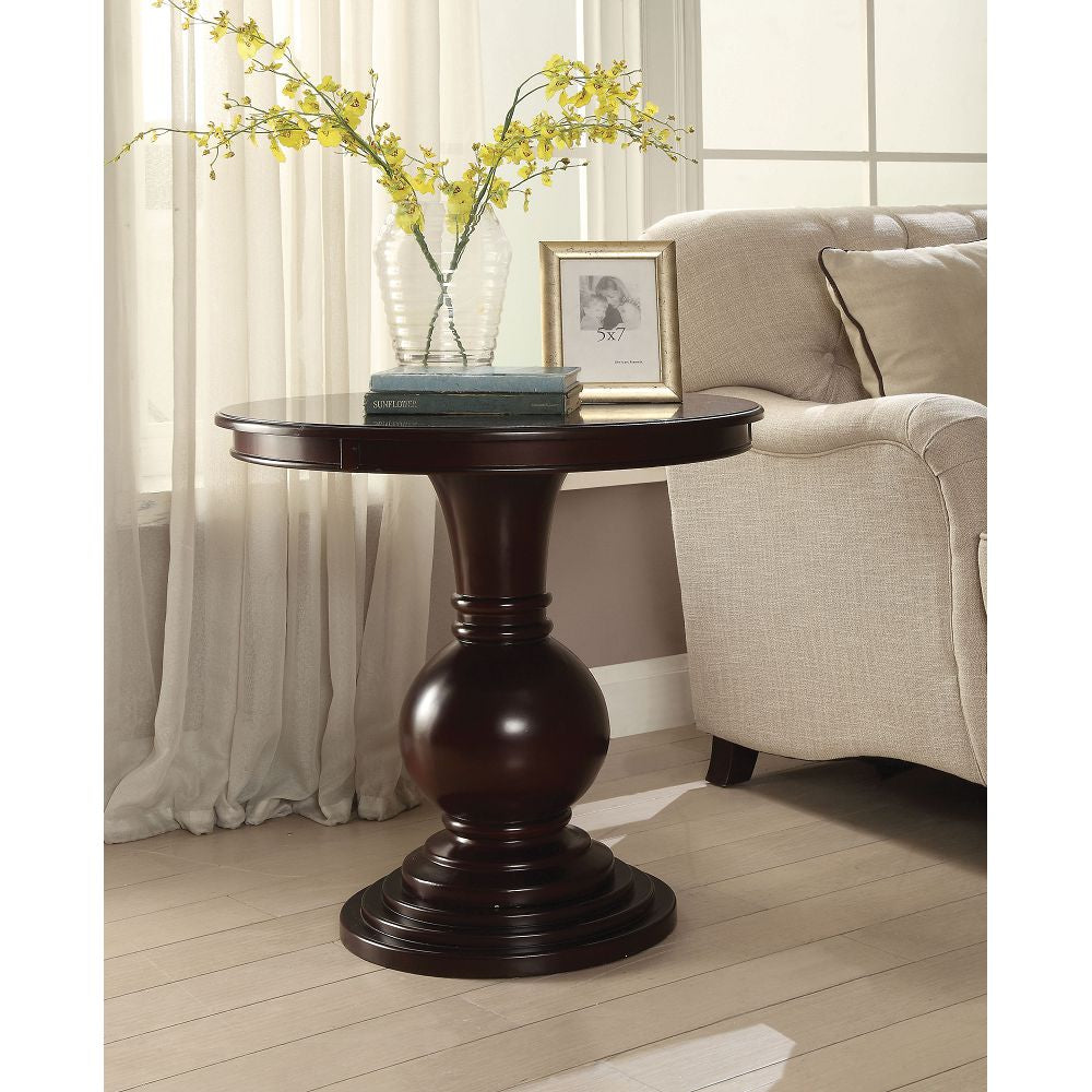 Wooden Round Pedestal & Top Accent Table in Espresso