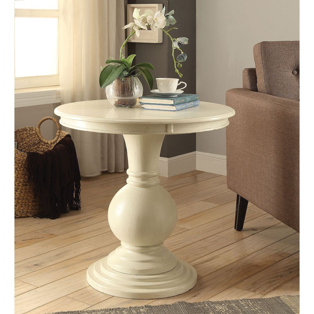 Wooden Round Pedestal & Top Accent Table in Antique White BH82818
