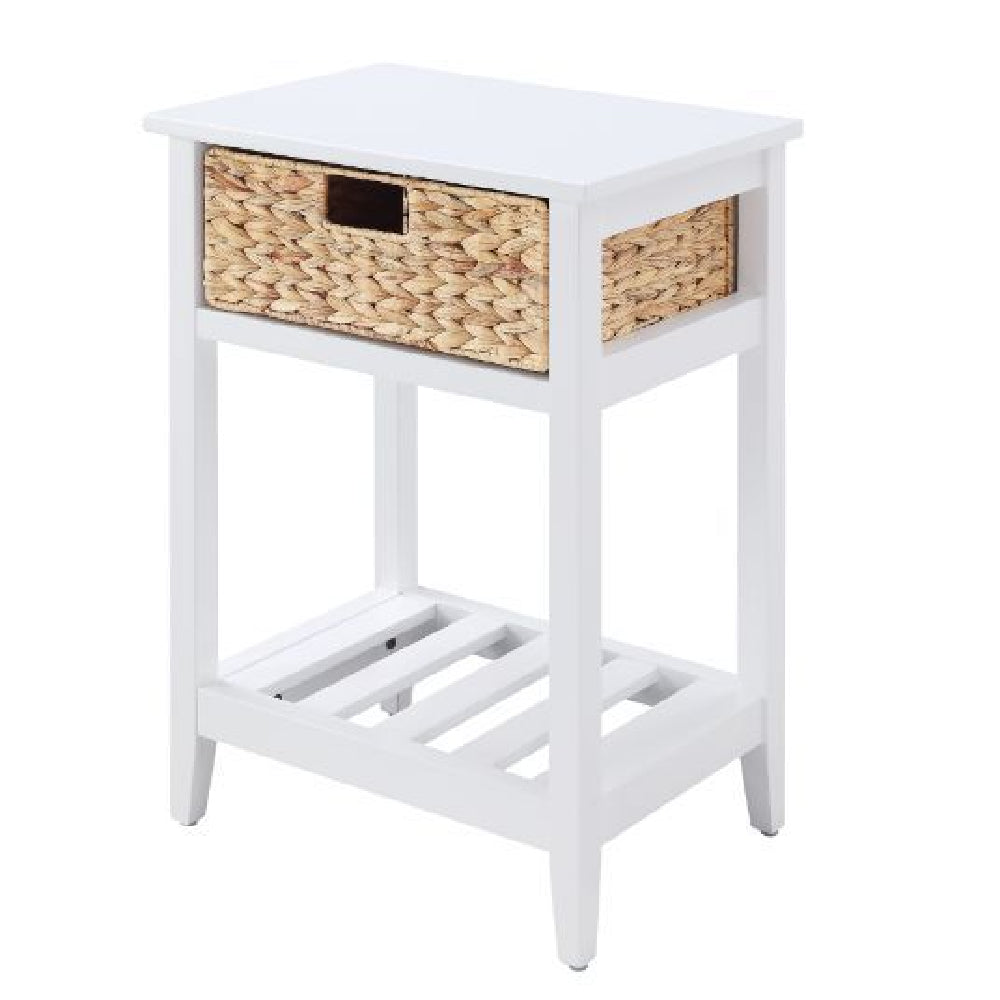 Chinu Accent Table w/1 Woven Basket and 1 Slatted Shelf White & Natural
