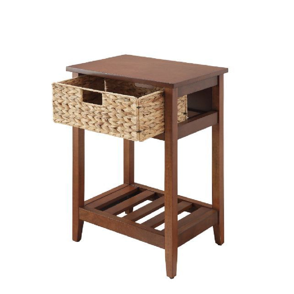 Chinu Accent Table w/1 Woven Basket and 1 Slatted Shelf Walnut & Natural
